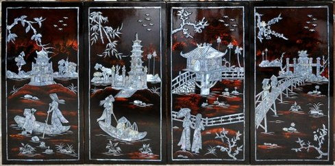 Lacquer Paintings Inlays Marquetry Metal Etching