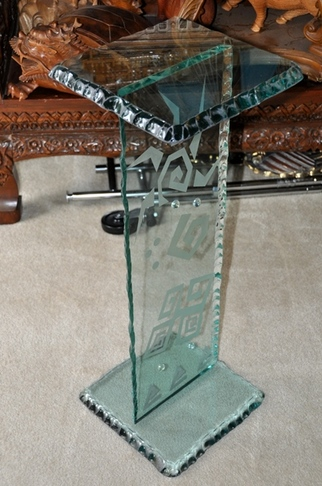 One-of-a-kind glass pedestal with etched abstract art