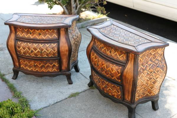 Pair of unique woven bamboo nightstands with drawers