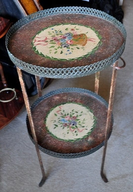 Vintage 2-tier metal plant stand with hand painted flowers