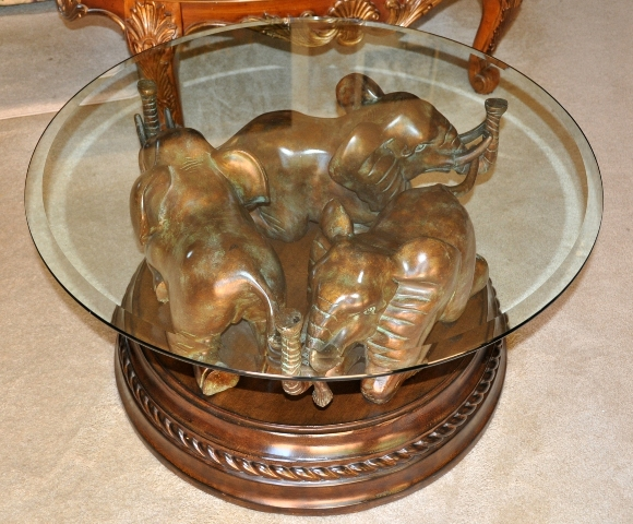 Coffee tea tables dining tables game tables ornate mirrors cabinets curios etageres Elephant coffee table