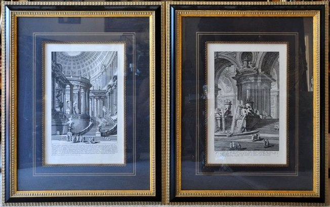 Pair of framed reproduction of etchings by Giovanni Battista Piranesi