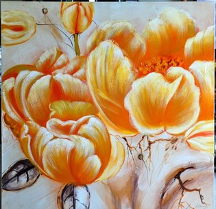Oil painting of orange colored tulips