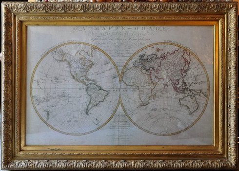 Framed 18th century French world map reproduction in ornate golden frame