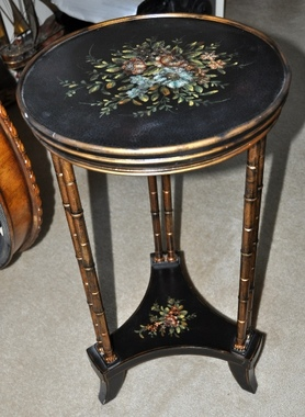 Asian style black plant stand or pedestal with bamboo like poles