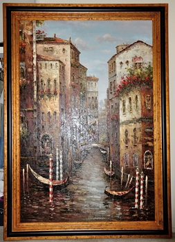 Large European style canvas painting of Venice with gondolas on the Grand Canal