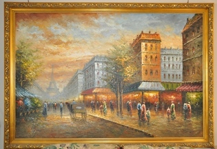 Large Paris scene oil on canvas painting with ornate frame