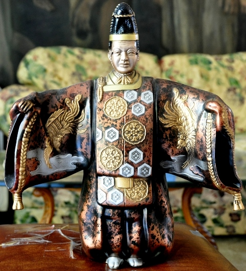 Cloisonne metal statue of Japanese emperor in colorful dress