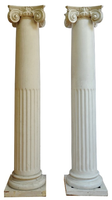 Pair of tall fluted columnar wooden pedestals with Ionic capital tops
