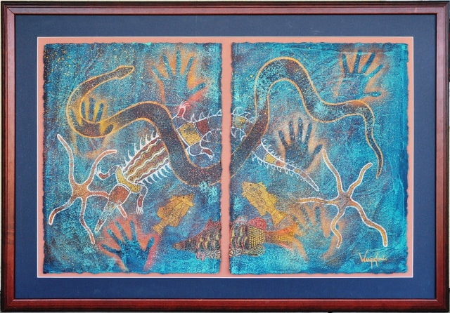 Mixed media painting depicting sea life by Aboriginal Australian artist Leanne Wanjidari