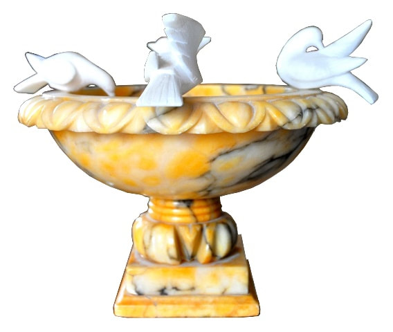 Italian veined yellow marble bird bath with 4 white alabaster doves perched on top
