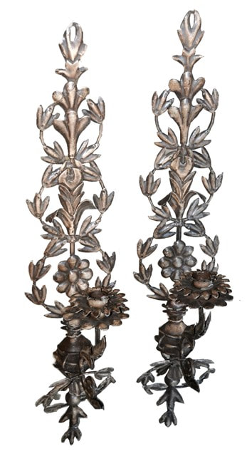 Pair of metal candle wall sconces with floral design