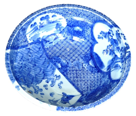 Large Asian blue and white porcelain wash bowl