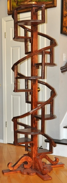One of a kind wooden spiral shelf