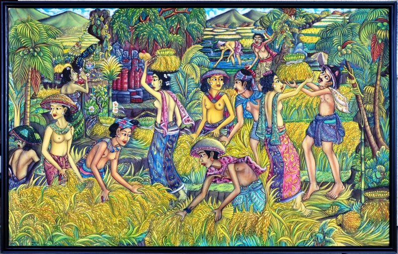 Large Balinese Ubud oil on canvas painting depicting farmers harvesting paddy