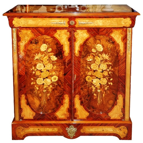 French cabinet with beautiful marquetry of flower bouquets