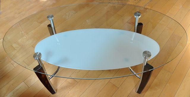 Glass Top Art Deco Style Coffee And End Tables With Bases
