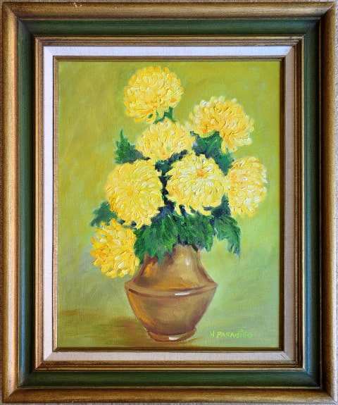 Oil on canvas painting of yellow flowers in a vase by H. Paradiso