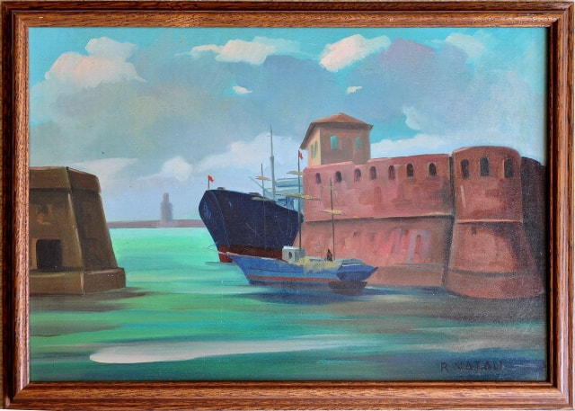 Oil on panel painting by Renato Natali depicting Italian port scene