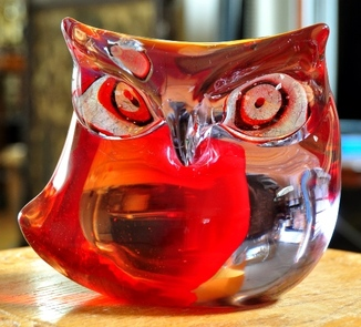 Vintage Sommerso Murano glass owl sculpture by Antonio Da Ros for Cenedese and owned by Frank Sinatra