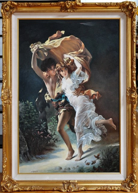 Oil on canvas painting by Nikolay Semovskikh after Pierre Auguste Cot's The Storm