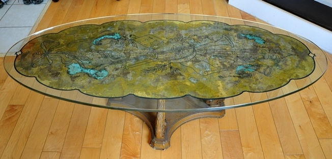 Vintage gold leaf on glass Hollywood Regency style coffee table