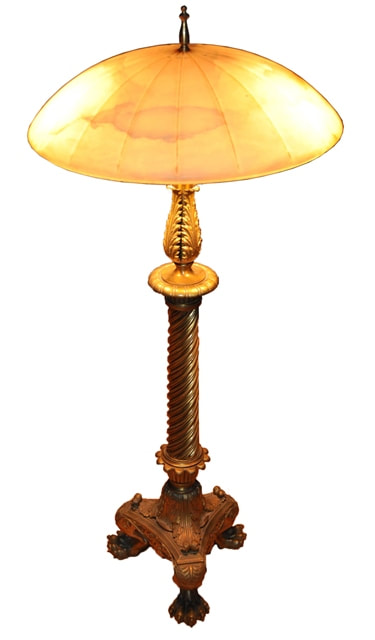 Unique Table Lamp With Ornate Brass Claw Feet Base And