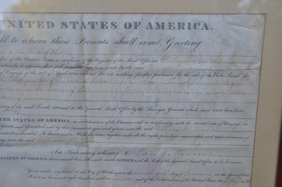 Land Grant Certificate Signed In 1822 By The 5th Us