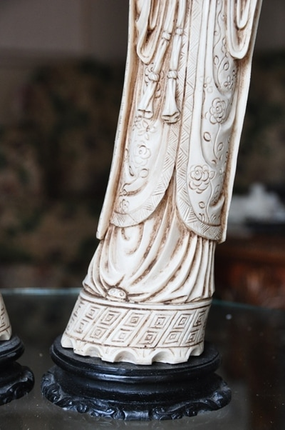 Faux Ivory Statues Of Asian Emperor And Empress Assamika Arts Crafts Antiques Collectibles