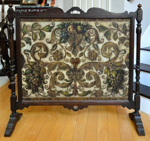 Spanish Revival style fireplace screen with oak frame and hand painted panel