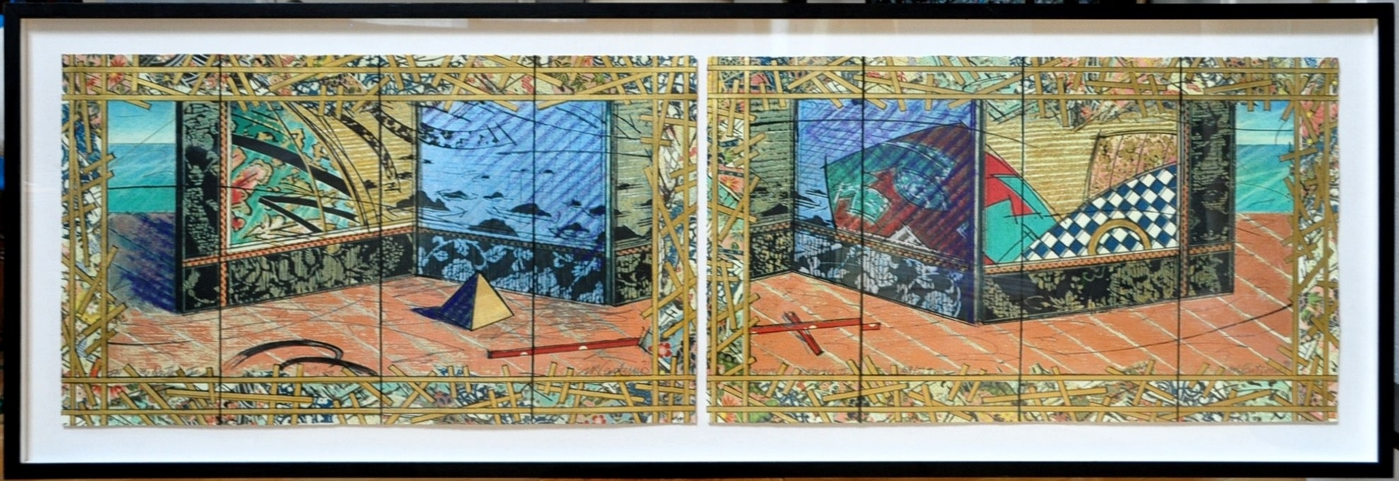 Pair of limited edition mixed media serigraphs with gold leaf titled In the North I & II by William Gatewood