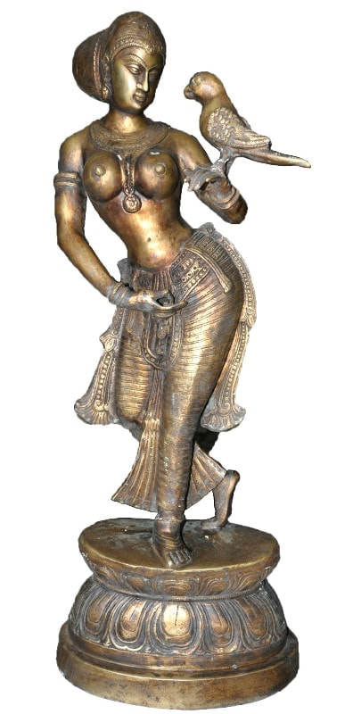 Antique brass sculpture of an Indian lady holding a parrot on her left hand