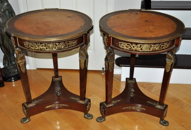 Antique French Empire style ormolu mounted occasional drum table