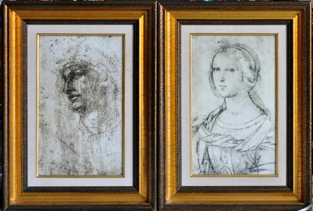Drawings of Head of a Youth by Michelangelo and bust of a Female Saint by Raphael