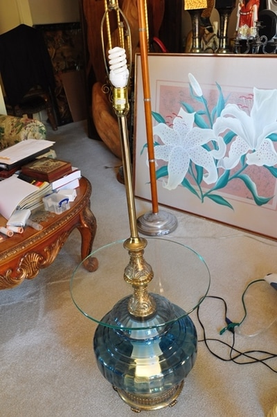 Hollywood Regency Floor Lamp With Cobalt Blue Glass Globe And Table Top Assamika Arts Crafts