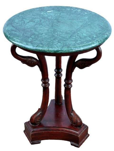 Empire style occasional table with carved mahogany swan neck base