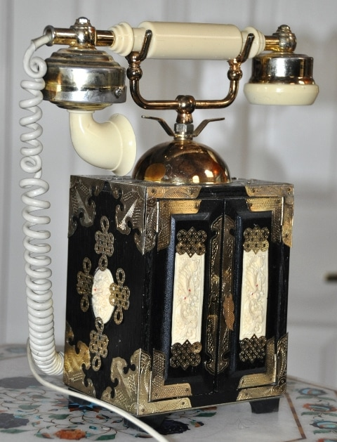 Oriental jewelry box style vintage French rotary telephone