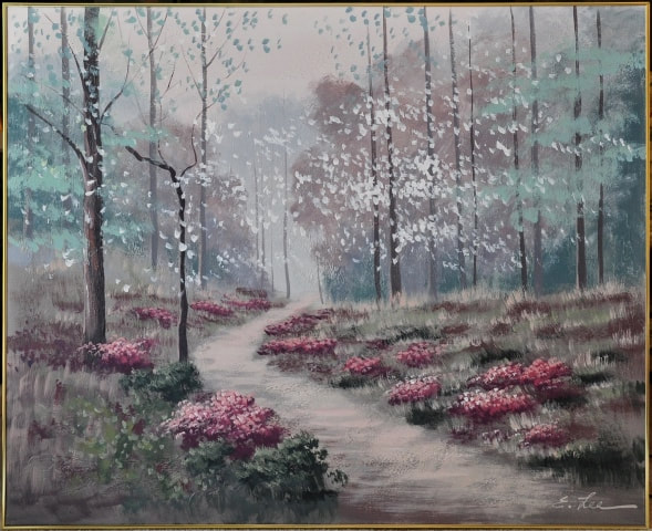 Oil on canvas painting titled Spring Path by E. Lee