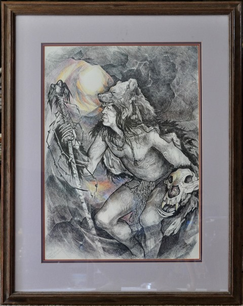 Limited edition print of Michele Gauthier drawing titled Taiga Shaman
