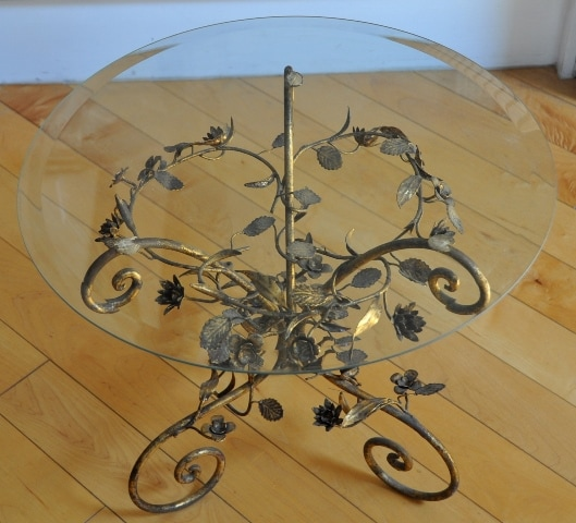 Glass top end table with Italian tole floral metal base