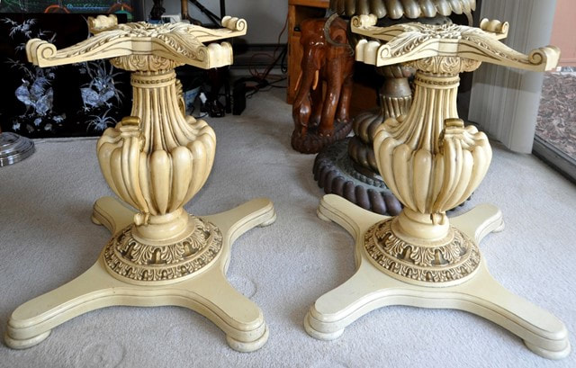 French Provincial style Hollywood Regency dining table bases