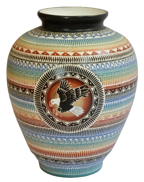 Large hand etched Navajo vase with flying eagle by Betty Sum Dim