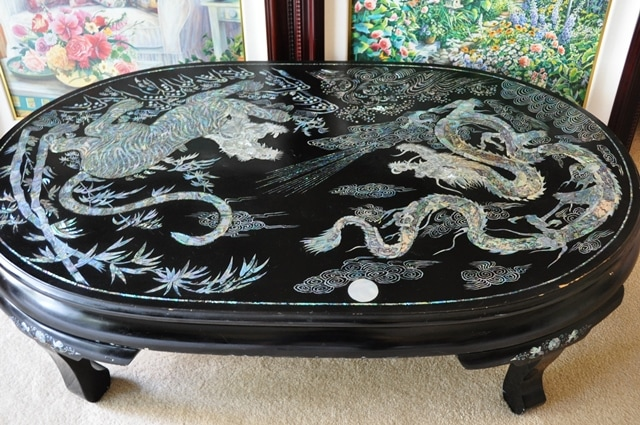 Vintage Korean Lacquer Coffee Table With Mother Of Pearl Inlay Patterns Of  Tiger And Dragon   Assamika: Arts, Crafts, Antiques, Collectibles, Home  Decor And ...