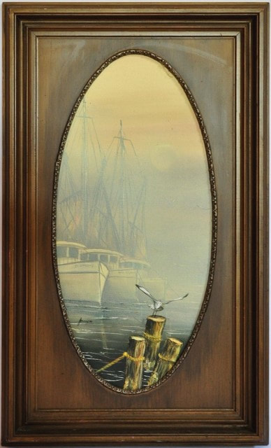 Oil on canvas painting of sailing boats by the pier