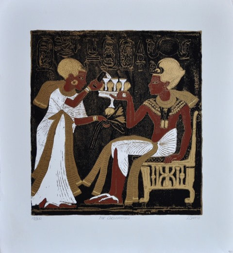 Egyptian themed serigraph titled The Coronation by L. Sacco