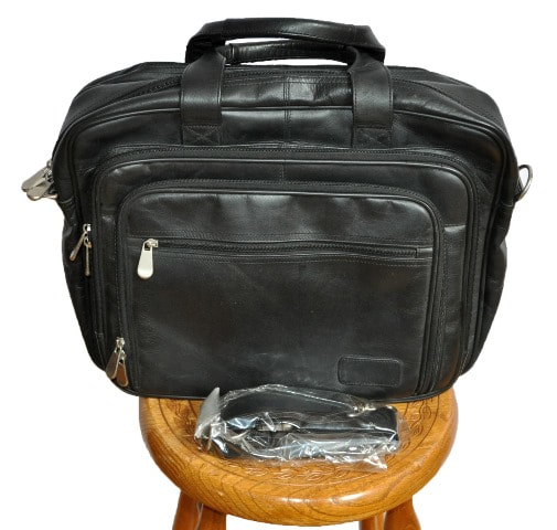 Genuine full grain cowhide leather black computer office bag by Monarch Luggage Co.