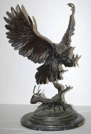 Jules Moigniez bronze sculpture of an owl flying off a tree branch