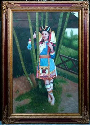 Painting of a young Hmong woman in colorful dress