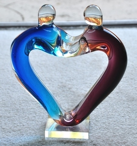 Murano style art glass sculpture of a dancing couple forming a heart shape