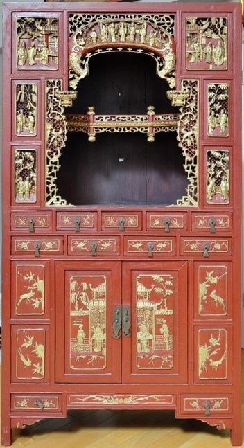 Antique Chinese red shrine cabinet with gilt wood carved panels